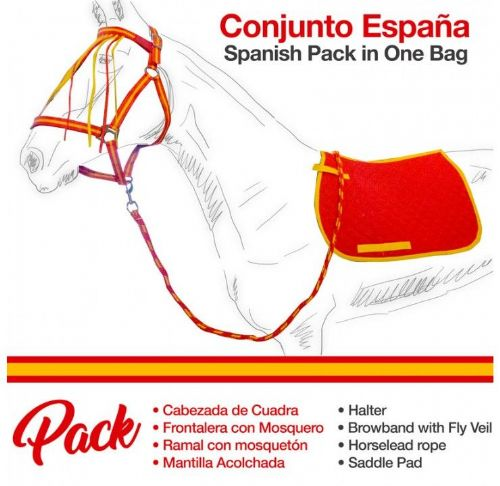 Spanish saddle cloth, halter and lead rope set